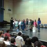 Die 5 a auf der Bühne des Konservatoriums